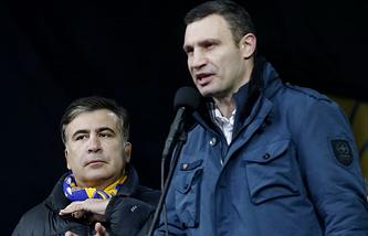Vitali Klitschko (right) and Mikheil Saakashvili (left)