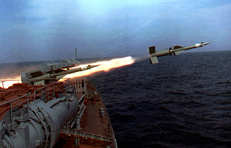 A missile fired from a ship during the Black Sea Fleet naval drills (archive)