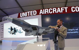 Model of a Russian fifth-generation fighter at Farnborough Airshow 2014