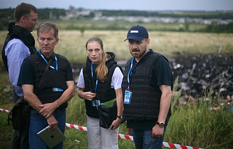 OSCE representatives at the crash site of flight MH17