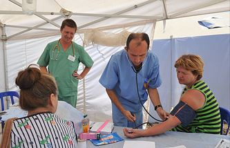 Temporary accommodation camp for Ukrainian refugees in Russia's Rostov region