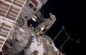 Alexander Skvortsov during a spacewalk in June