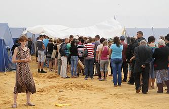 A refugee camp in Russia's Rostov Region