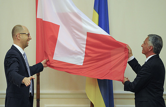 Ukrainiaan Prime Minister Arseniy Yatsenyuk and Swiss President Didier Burkhalter during their meeting in Kiev, April 2014