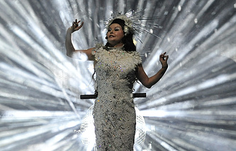 British singer Sarah Brightman performs during a concert