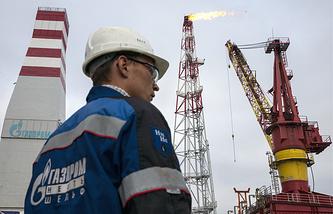 A Gazprom Neft employee seen on the Prirazlomnaya oil rig