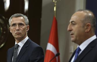 NATO Secretary General Jens Stoltenberg and Turkey's Foreign Minister Mevlut Cavusoglu