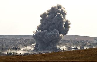 Airstrikes by the US led coalition in Kobani, near the Turkey-Syria border