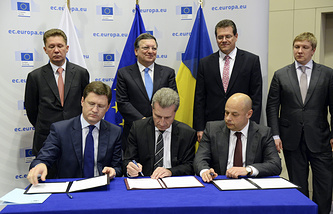 Russia's Energy Minister Alexander Novak, EU Energy Commissioner Guenther Oettinger, Ukraine's Energy Minister Yury Prodan at the three-party gas talks in Brussels
