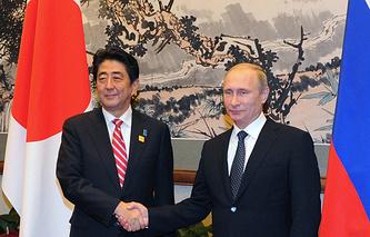 Japanese Prime Minister Shinzo Abe and Russian President Vladimir Putin