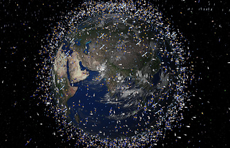 Computer generated image shows artist's impression of debris objects in low-Earth orbit