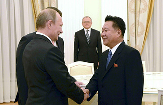 Russian President Vladimir Putin and North Korean leader's envoy Choe Ryong-hae