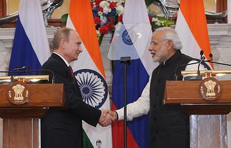 Russian President Vladimir Putin and India's Prime Minister Narendra Modi