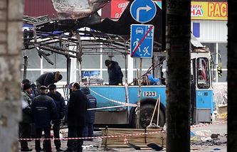 The site of a terrorist attack in Volgograd, December 2013