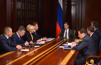 Russian Prime Minister Dmitry Medvedev at a government meeting