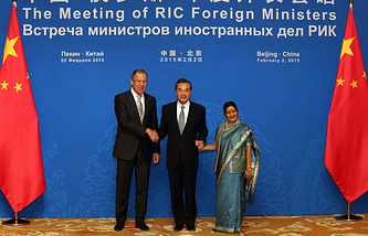 Foreign Minister of Russia Sergey Lavrov, China's Wang Yi and India's Sushma Swaraj