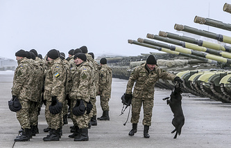 Ukrainian soldiers at a military base