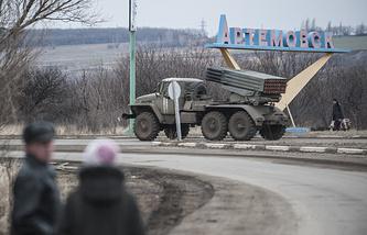 Ukrainian multiple rocket launcher system BM-21 Grad