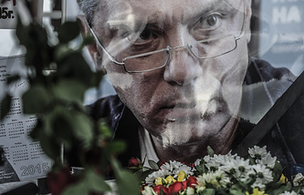 At the mourning rally in memory of Boris Nemtsov