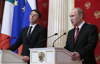 Italian Prime Minister Matteo Renzi and Russian President Vladimir Putin