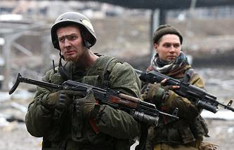 Armed militia fighters in eastern Ukraine
