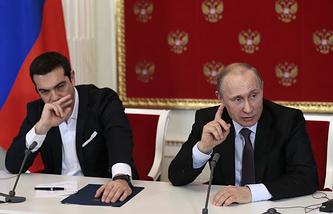 Greek Prime Minister Alexis Tsipras and Russian President Vladimir Putin