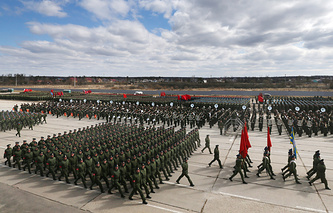 A rehearsal of the upcoming 9 May Victory Day Parade