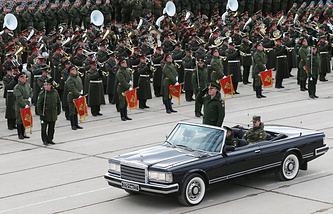 Troops rehearsing for the Victory Day parade at the Alabino range in the Moscow Region