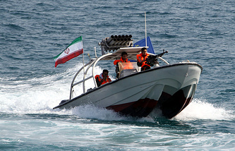 Iranian Revolutionary Guard speedboat at the port of Bandar Abbas