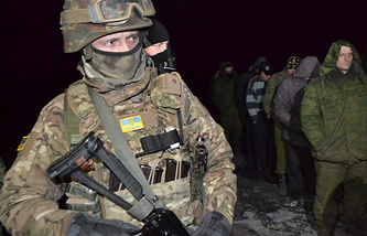 Ukrainian soldier seen during prisoner exchange (archive)