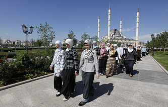 Women participating in the Chechen Beauty March in the city of Grozny