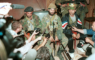 Shamil Basayev with other militants at the hospital in Buddyonovsk