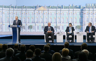 Russian President Vladimir Putin at a plenary session of the St. Petersburg International Economic Forum
