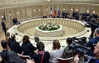 Press conference following Normandy format Ukraine peace talks in Minsk (archive)