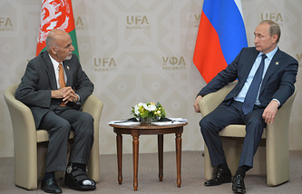 Afghan and Russian Presidents Ashraf Ghani and Vladimir Putin