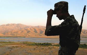 Tajik-Afghan border at the Bahorak Tajik Border Guard post