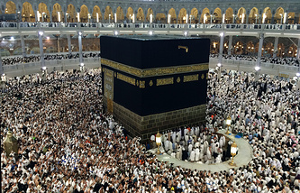 Muslim pilgrims inside the Grand Mosque during the annual pilgrimage, known as the hajj in Mecca