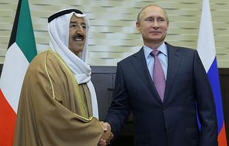 Emir of Kuwait Sabah Al-Ahmad Al-Jaber Al-Sabah and Russian President Vladimir Putin