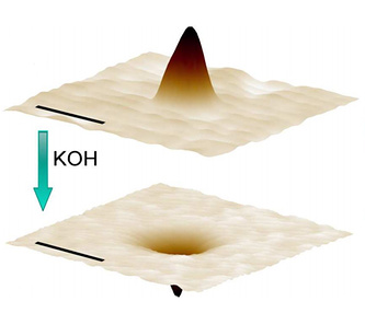 Fig. 1. The laser-treated surface of the glass before and after the application of alkali
