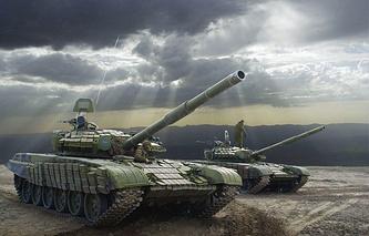 Tanks at Russia's Lyaur military range in Tajikistan