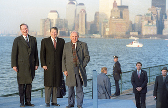 Vice President of the United States George Bush, President of the United States Ronald Reagan and General Secretary of the Central Committee of the Communist Party of the USSR Mikhail Gorbachev (L-R) seen on the Governors Island, 1988 (archive)