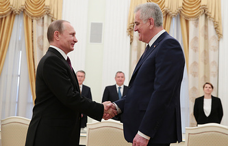 Presidents of Russia and Serbia Vladimir Putin and Tomislav Nikolic