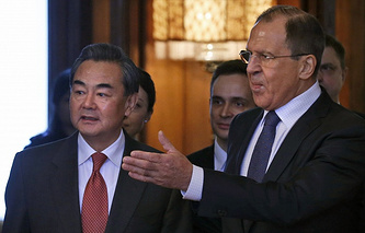 Minister of Foreign Affairs of the Russian Federation and China Wang Yi and Sergei Lavrov