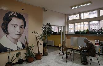 Polling station in Belgrade, Serbia