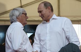 Formula One CEO Bernie Ecclestone and Russian President Vladimir Putin