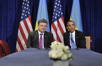 The presidents of Ukraine and the United states, Petro Poroshenko and Barack Obama