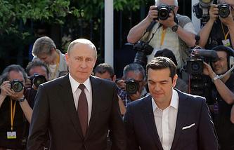 Russian President Vladimir Putin and Prime -Minister Greece Tsipras
