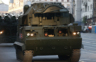Tor-M2U anti-aircraft missile system launching vehicle