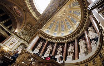View of the assembly room at the French Senate in Paris