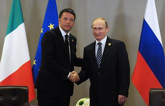 Italian Prime Minister Matteo Renzi and Russian President Vladimir Putin (archive)